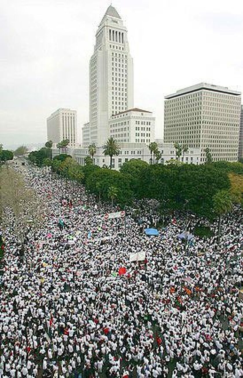 The protest march in downtown Los Angeles went from Broadway and Olympic to City Hall.
