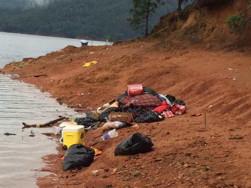 A University of Oregon fraternity is accused of leaving behind heaps of trash at a campsite at Shasta Lake in Northern California.