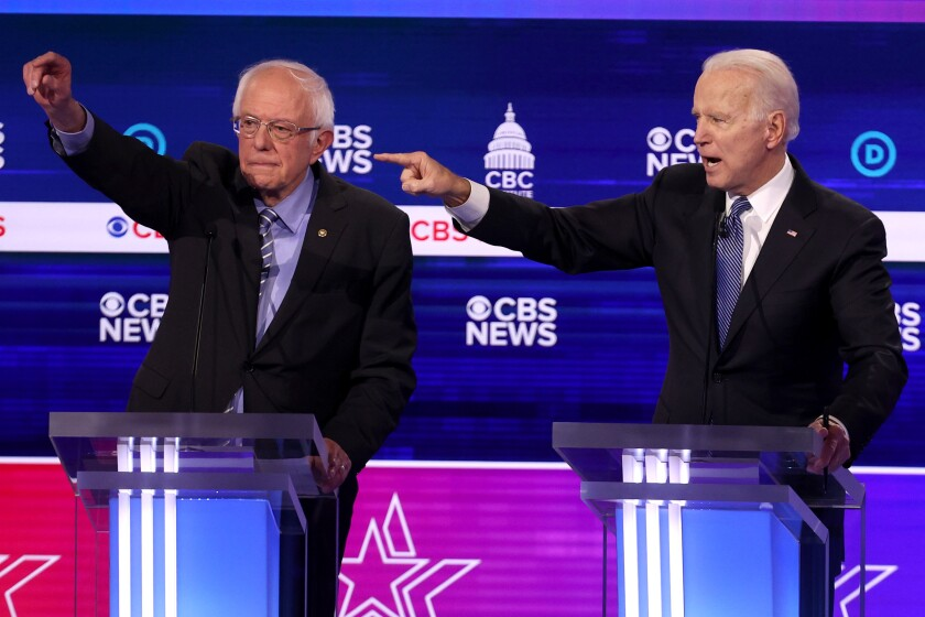 Column: The shtick is wearing thin for the Democrats' trio of crotchety geezers