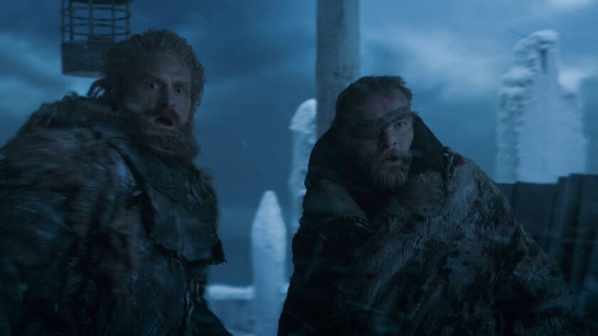 "Kristofer Hivju as Tormund and Richard Dormer as Beric Dondarrion in the ""Game of Thrones"" episode """