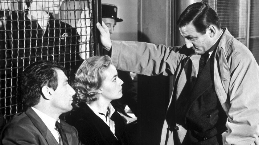 "Maurice Ronet, left, Jeanne Moreau and Lino Ventura star in Louis Malle's 1958 French drama ""Elevator to the Gallows."""