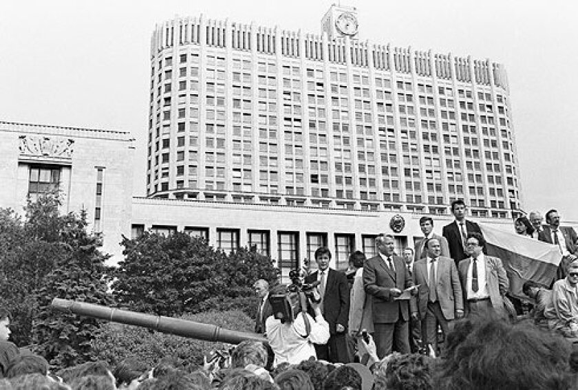 Boris Yeltsin stands on a tank during a failed coup attempt in 1991. Meyers visited the tense city two days before the show down.