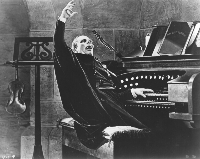 "Lon Chaney in at the organ in ""The Phantom of the Opera"" (1925)"
