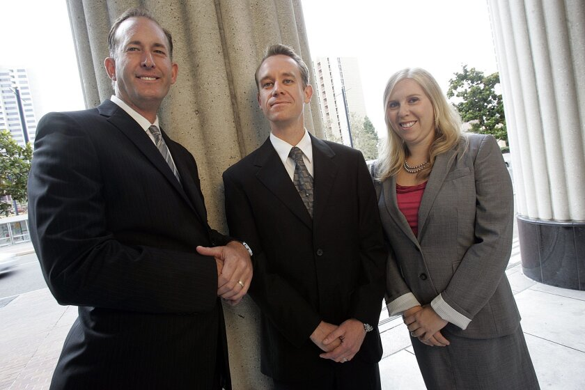 Several San Diego lawyers are choosing to focus their practices on medical marijuana issues, including (from left) Jeffrey Lake, Lance Rogers and Kimberly Simms.