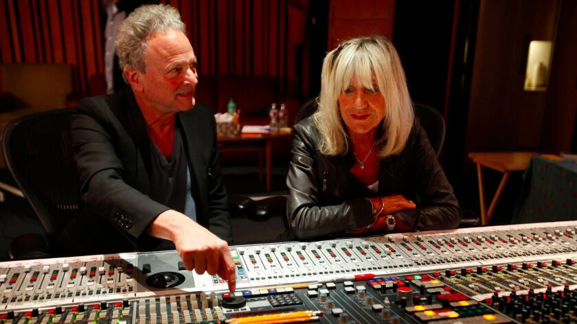 Buckingham and McVie in 2014 at West L.A.'s Village Studios.