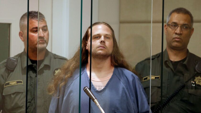 Accused murderer Jeremy Joseph Christian is arraigned in Multnomah County Circuit Court in Portland, Ore. on May 30.