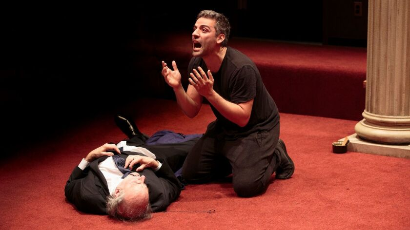 """Peter Friedman and Oscar Isaac in """"Hamlet,"""" directed by Sam Gold."""