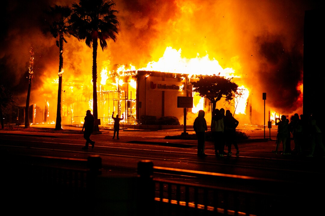 A Union Bank is burned to the ground by looters on May 30, 2020 in La Mesa, California.