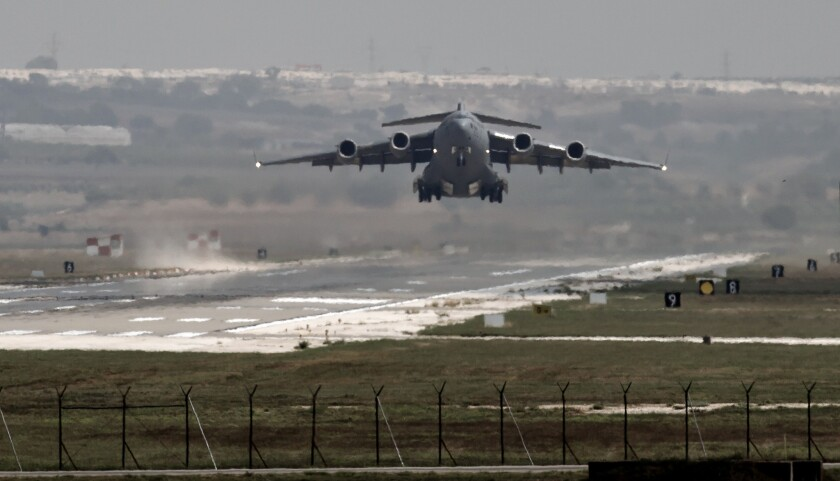 A U.S. Air Force plane takes off from Incirlik Air Base in southern Turkey in a file photograph. Islamic State claimed it killed Thaddeus Borowicz, an American working at the base as a firefighter.