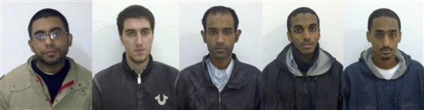 In this five-combo photo released by Sargodha Police Department on Friday, Dec. 11, 2009, arrested American Muslims, from left, Waqir Hussain Khan, Ramys Zamzam, Umar Farooq, Ahmad Abdulminni, Aman Hasan Yamer are seen in Sargodha, Pakistan. Pakistani police say five young American Muslims detained over alleged terrorist links are most likely to be deported. (AP Photo/Sargodha Police Department)