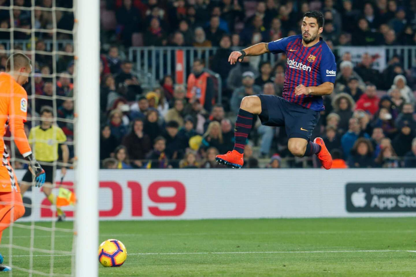 Barcelona's Uruguayan forward Luis Suarez (R) jumps for the ball in front of Real Valladolid's Spanish goalkeeper Jordi Masip during the Spanish League football match between Barcelona and Real Valladolid at the Camp Nou stadium in Barcelona on February 16, 2019. (Photo by Pau Barrena / AFP)PAU BARRENA/AFP/Getty Images ** OUTS - ELSENT, FPG, CM - OUTS * NM, PH, VA if sourced by CT, LA or MoD **