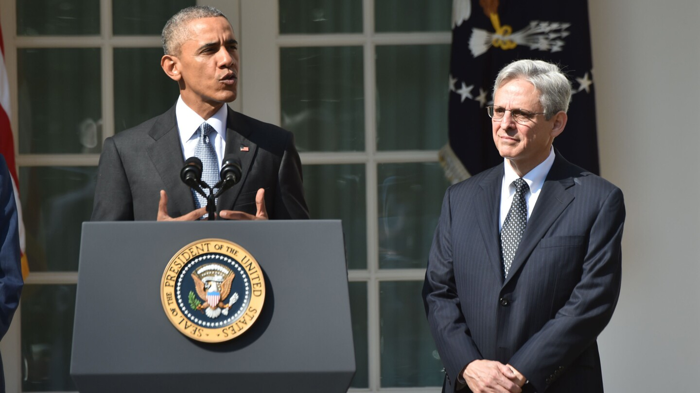 President Obama announces his Supreme Court nominee, Merrick Garland, right, in the Rose Garden at the White House on Wednesday.