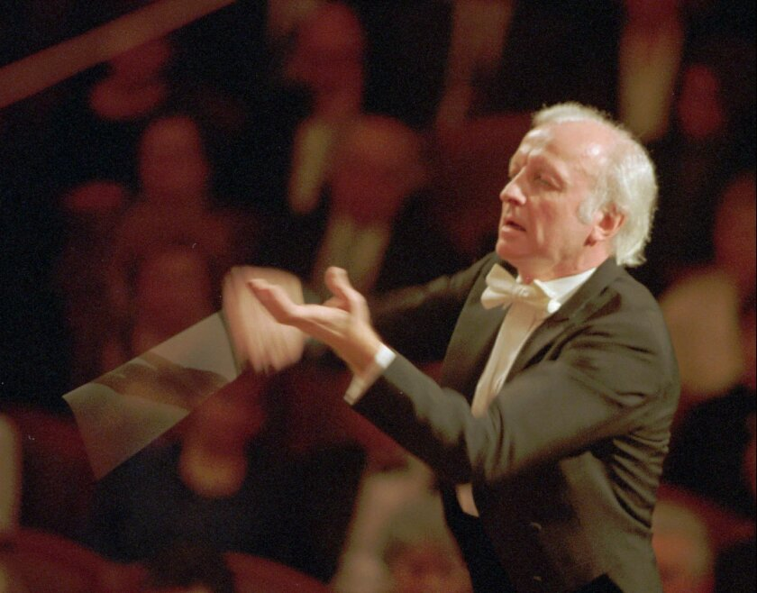 FILE - In this Jan. 4, 1996 file picture then chief conductor of Czech Philharmony Orchestra Gerd Albrecht performs during the concert held in Prague . German conductor Gerd Albrecht, who led orchestras in the Czech Republic, Japan and Denmark and worked to bring music to children, has died. He was 78.Albrecht's office said in a statement he died in Berlin Sunday Feb. 2, 2014 following a serious illness. (AP Photo//CTK,Tomas Turek,file) SLOVAKIA OUT