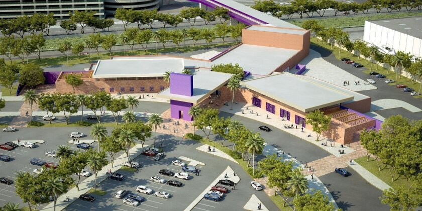 A rendering of the planned cross-border facility at Otay Mesa that will connect via pedestrian bridge to Tijuana's A.L. Rodriguez International Airport.