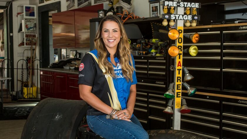 Ashley Sanford, 23, of Fullerton is a NHRA drag racer who made it to the top fuel category, which is