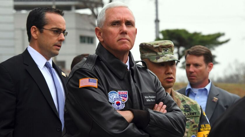 Vice President Mike Pence visits the Demilitarized Zone on the border between North and South Korea.