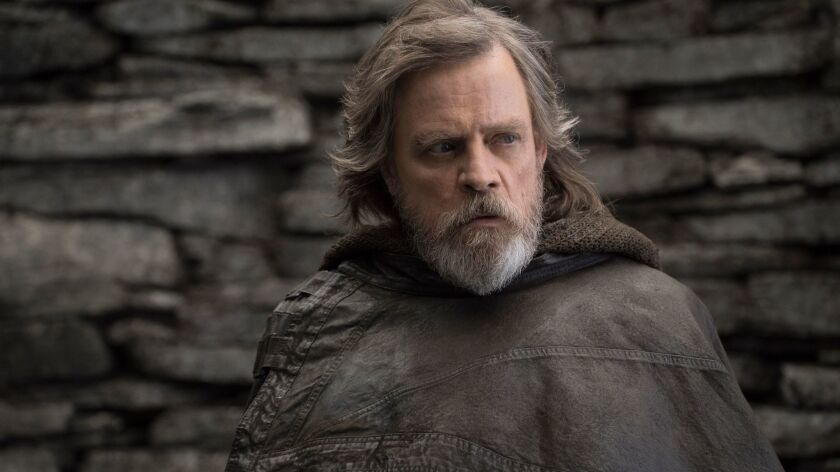 """Mark Hamill as 'Luke Skywalker' in a scene from the movie """"Star Wars: The Last Jedi."""" Credit: John W"""