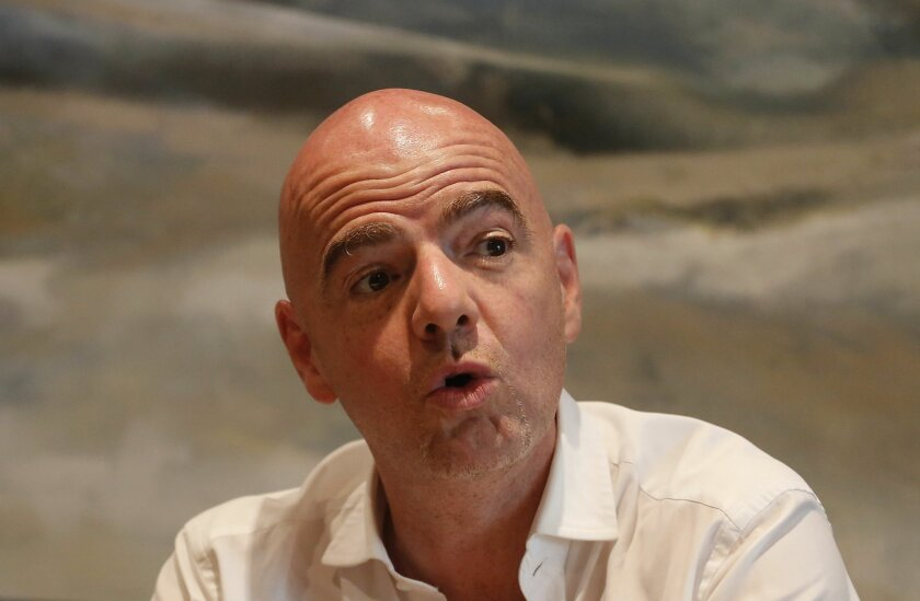 Gianni Infantino UEFA secretary general, speaks at a press briefing in Cape Town, South Africa, Monday, Feb. 22, 2016.  Infantino expects more than half of Africa's 54 countries to back him in the FIFA presidential election on Friday. (AP Photo/Schalk van Zuydam)