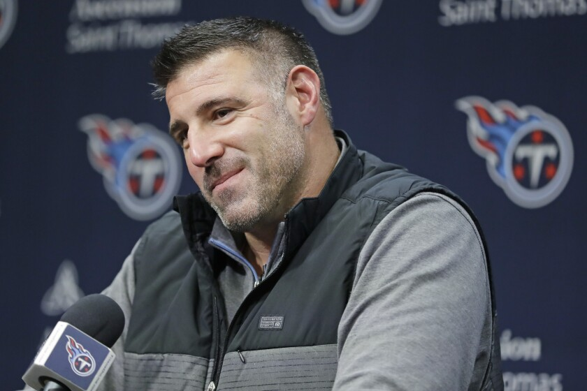 Tennessee Titans coach Mike Vrabel had a rather interesting crew assembled at home for the first round of the NFL draft.