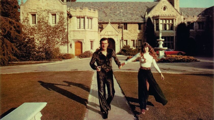 Hugh Hefner and Barbi Benton at Playboy Mansion in 1970.