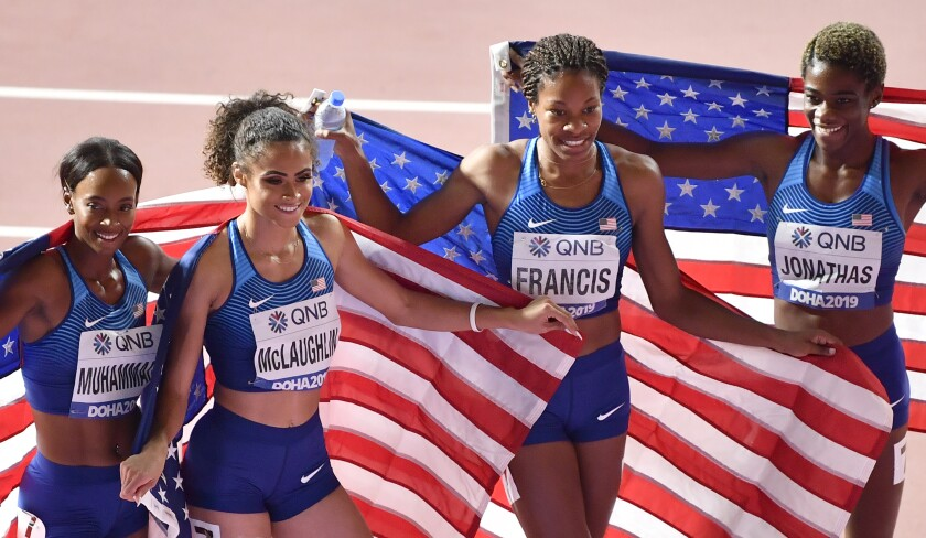 The American women's 1,600-meter relay team of Dalilah Muhammad, Sydney Mclaughlin, Phyllis Francis and Wadeline Jonathas their victory Sunday.