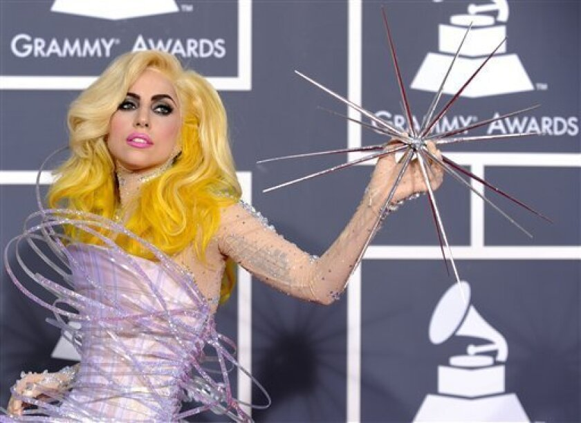 Lady Gaga, shown at the 2010 Grammy Awards, will perform as part of the Nov. 30 Grammy-preview telecast concert on KFMB/Channel 8. (AP Photo/Chris Pizzello)