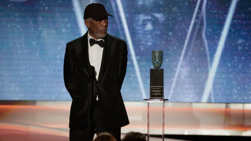 Morgan Freeman receives the lifetime achievement award during the show at the 24th Screen Actors Guild Awards at the Los Angeles Shrine Auditorium on Jan. 21.