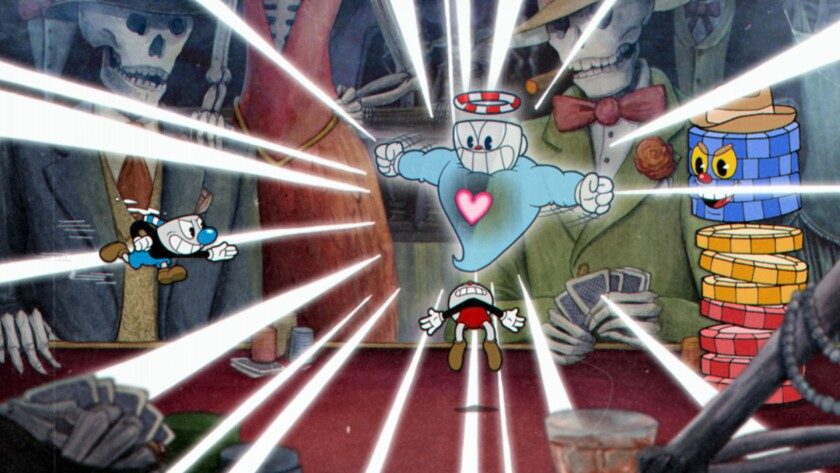 A frame grab from Cuphead, the classic animation-inspired platformer / shooter from developer Studi