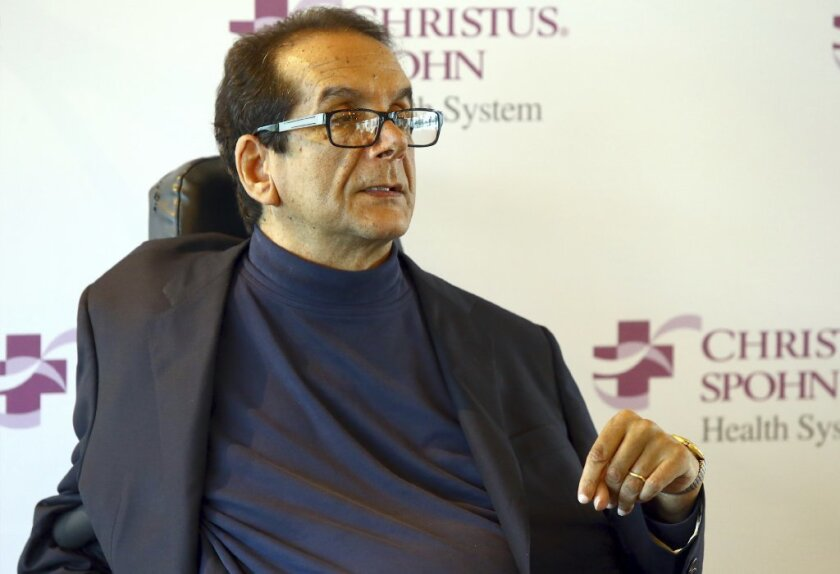 """FILE - In this March 31, 2015 file photo, Charles Krauthammer talks about getting into politics during a news conference in Corpus Christi, Texas. The Fox News contributor and syndicated columnist says he has """"only a few weeks to live"""" because of an aggressive form of cancer."""