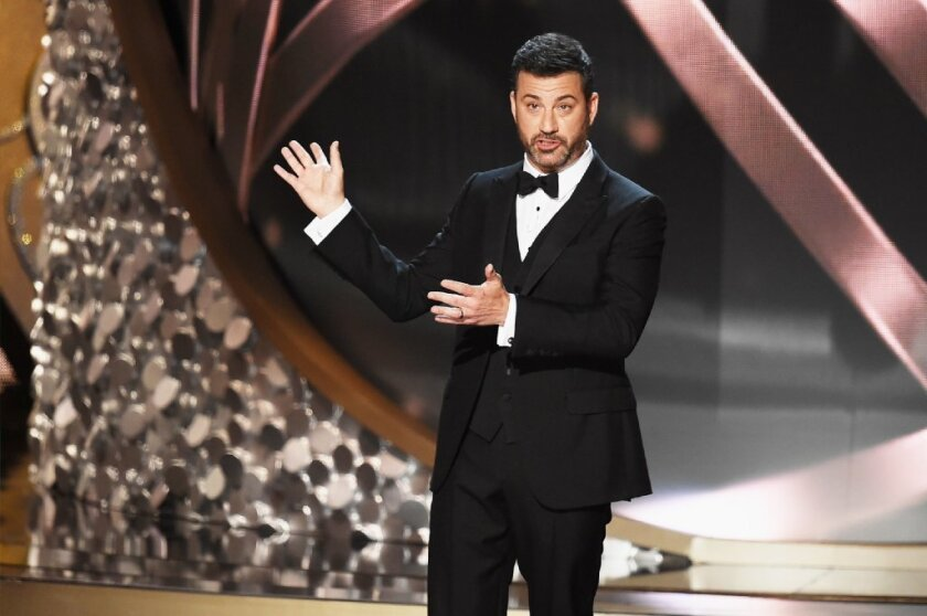 Jimmy Kimmel hosts the Emmys in September. He will not be wearing the same tuxedo at the Oscars, though he'd like to.