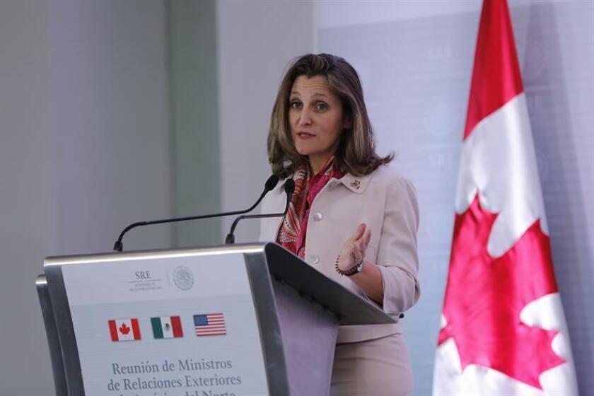 Fotografía de archivo de la ministra de Asuntos Exteriores de Canadá, Chrystia Freeland. EFE/Archivo