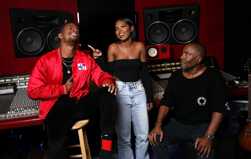 "Marcos ""Kosine"" Palacios, Ryan Destiny and ""Star"" co-creator/producer Lee Daniels at Palacios' studio in Sherman Oaks."
