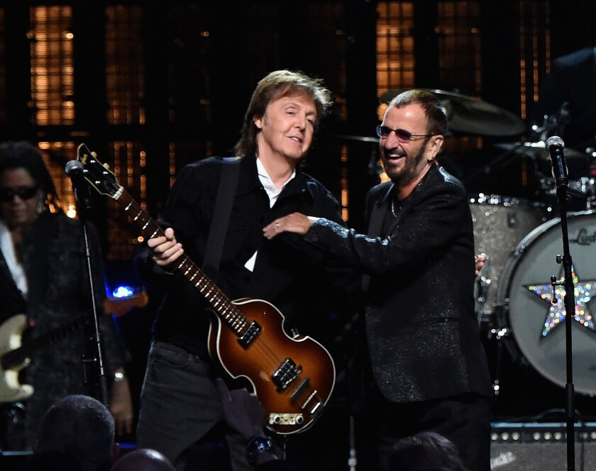 Ringo Starr, with Paul McCartney, at Rock Hall of Fame
