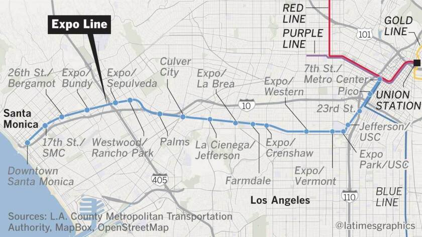 La Subway Map Red Line.You Can Finally Ride The Expo Line From L A To Santa Monica Here S