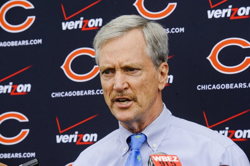 Chicago Bears Chairman of the Board George H. McCaskey speaks with the media regarding the release of defensive end Ray McDonald after an NFL football organized team activity at Halas Hall, Wednesday May 27, 2015, in Lake Forest, Ill. (AP Photo/Matt Marton)