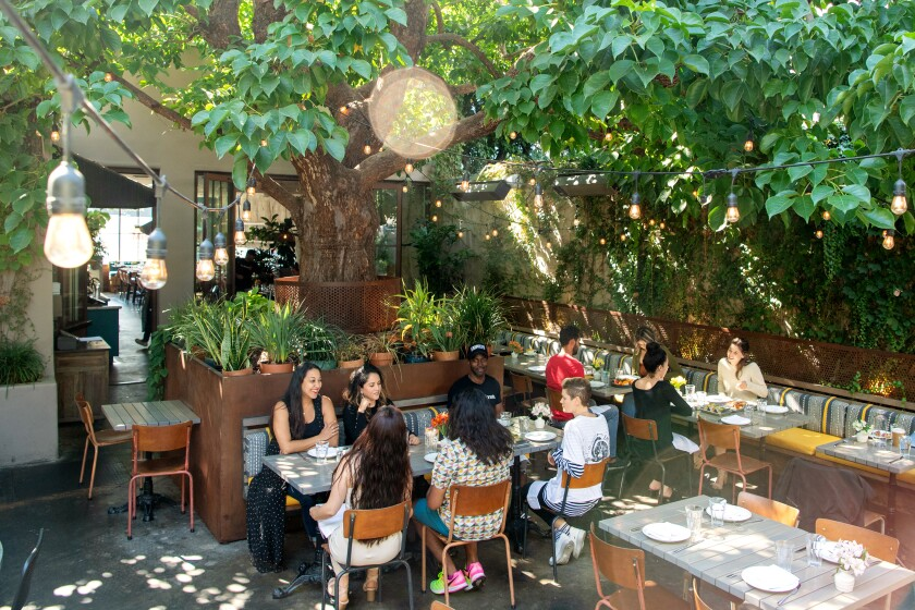Customers gravitate to the leafy patio at Nic's On Beverly.