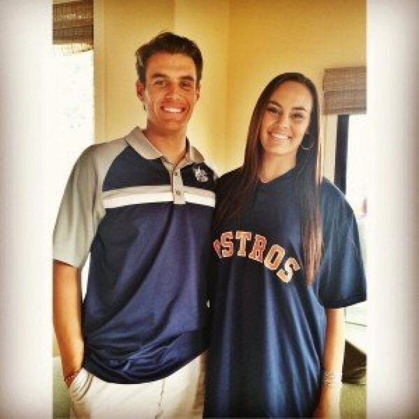 Brady Aiken celebrates getting drafted by posing with his sister Halle, who's proudly donning a Astros shirt. Photo courtesy of Halle Aiken.