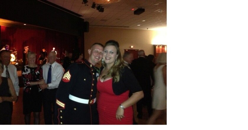 Sgt. and Mrs. Daniel Greenberg at the rotary's Dancing with the Heroes fundraiser at Camp Pendleton.