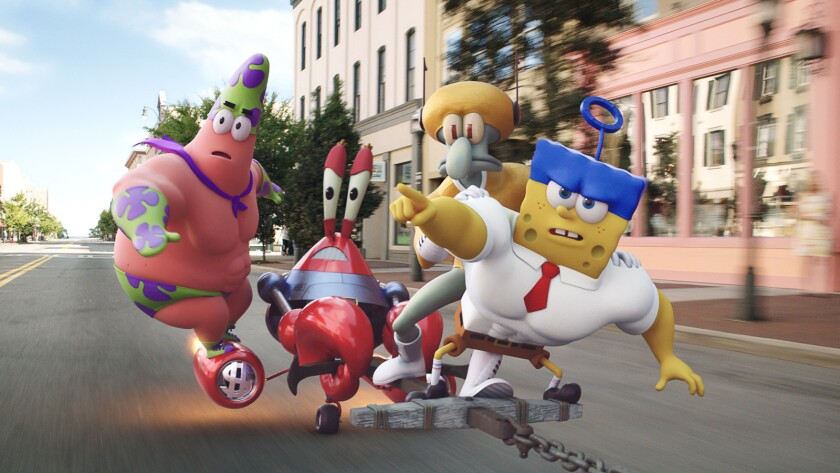 """Patrick Star (as Mr. Superawesomeness), left, Mr. Krabs (as Sir Pinch-A-Lot), Squidward Tentacles (as Sour Note), and SpongeBob SquarePants (as The Invincibubble) in """"The Spongebox Movie: Sponge Out of Water."""""""
