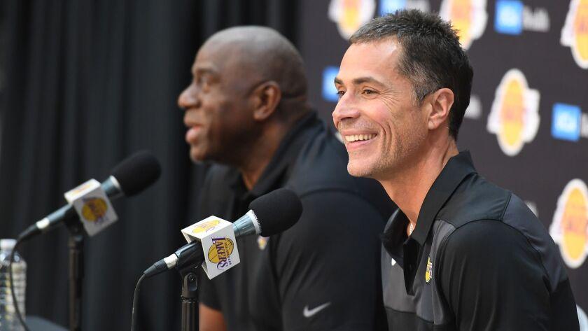 EL SEGUNDO, SEPTEMBER 20, 2018-Lakers General Manager Rob Pelinka, right, and President of Basketbal