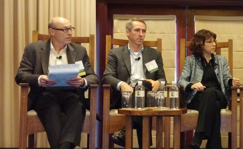 From left: Michael O'Donnel of Morrison & Foerster moderated the panel. Chris Haskell of Bayer; Sylvaine Cases of Sanofi.