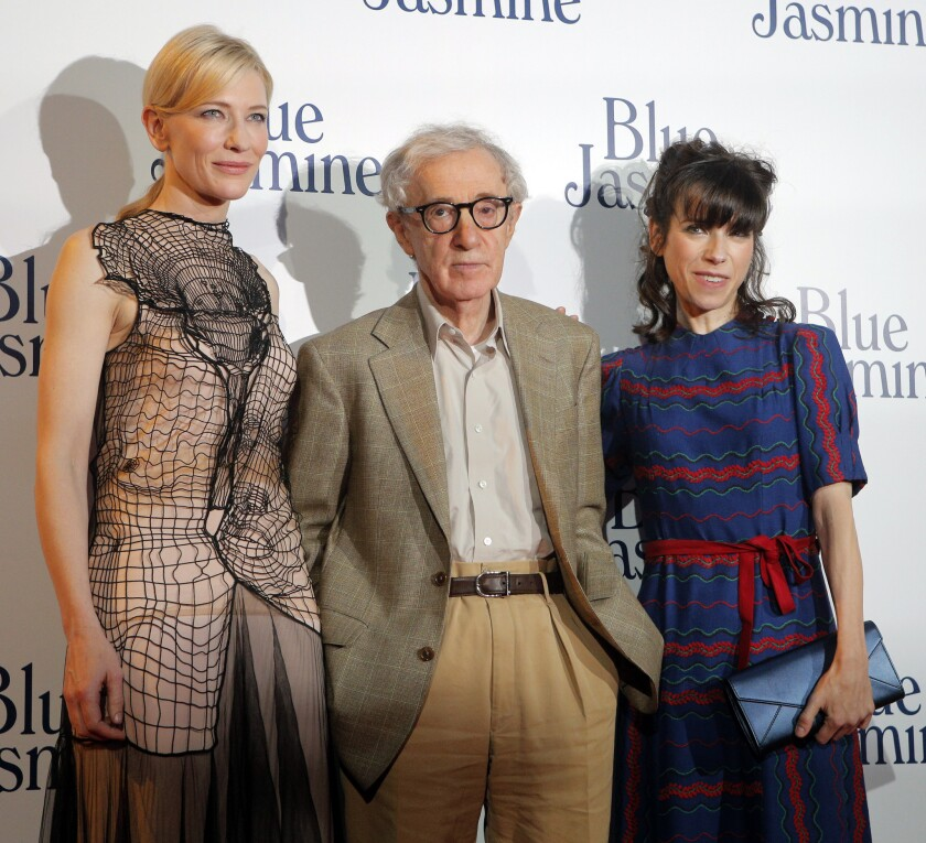 """Director Woody Allen is to receive the Cecil B. De Mille Award at the Golden Globes in January. Here, he is with actresses Cate Blanchett, left, and Sally Hawkins at French premiere of """"Blue Jasmine"""" in Paris earlier this year."""