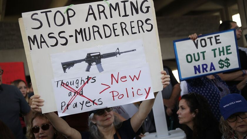 Protesters call for more gun-control laws at the Broward County Federal courthouse in Fort Lauderdale, Fla., on Feb. 17.