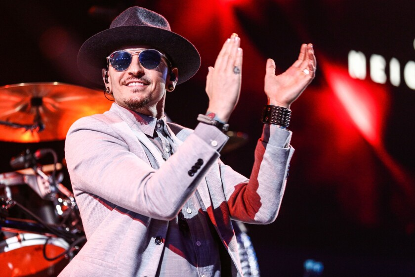 Chester Bennington at the iHeartRadio Theater in Burbank on May 22.