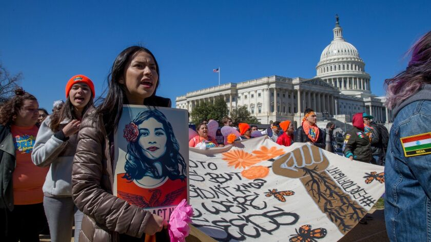 Supporters of the Deferred Action for Childhood Arrivals program march near the Capitol in Washington last year.