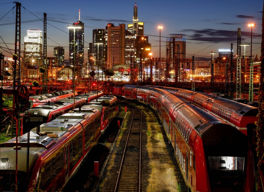 Trains are parked outside the central train station in Frankfurt, Germany, Wednesday, Aug. 11, 2021. Train drivers of the German GDL union asking for higher wages started a strike two hours after midnight. (AP Photo/Michael Probst)