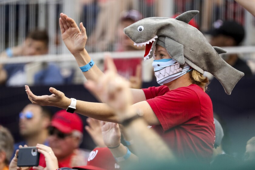 A fan wears a shark hat as Washington Nationals outfielder Gerardo Parra comes up to bat during a Sept. 29 game against the Cleveland Indians.
