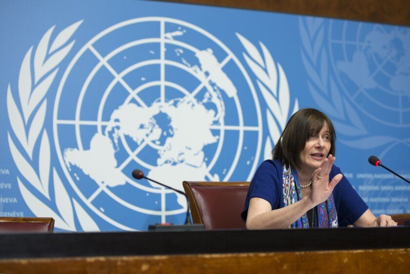 Marie-Paule Kieny, Assistant Director-General, Health Systems and Innovation,  of World Health Organization, WHO, speaks during a press conference  at the European headquarters of the United Nations, in Geneva, Switzerland, on Friday, Feb. 12, 2016.  The World Health Organization says possible Zika