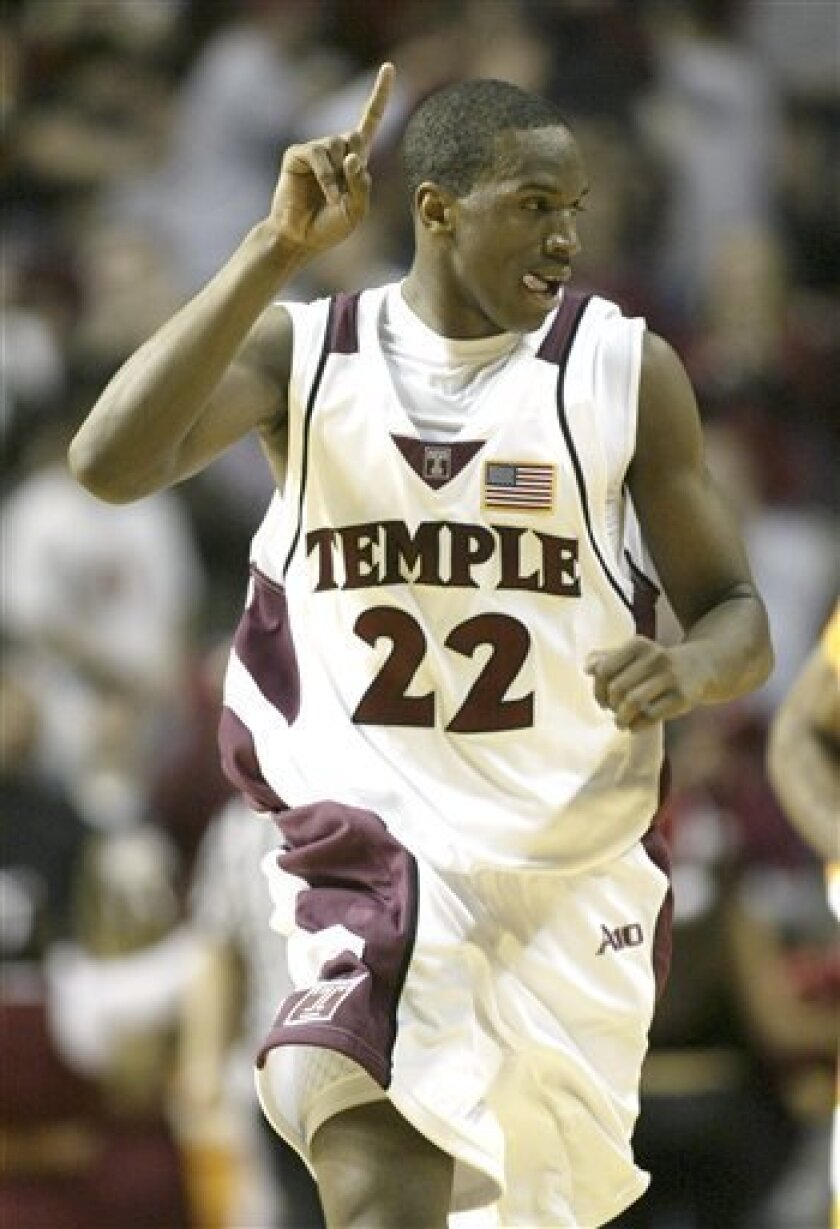 Temple's Dionte Christmas puts up a finger after scoring againstTennessee during the second half of an NCAA college men's basketball game Saturday, Dec. 13, 2008, in Philadelphia. Christmas scored a season-high 35 points asTemple upset No. 8 Tennessee 88-72. (AP Photo/H. Rumph Jr)