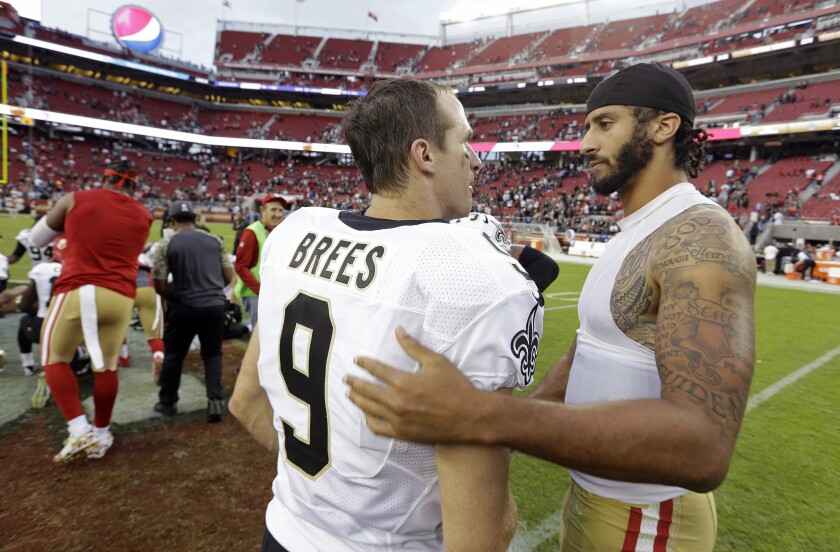 Saints quarterback Drew Brees, greeting then 49er Colin Kaepernick after a game in 2016, signed the Players Coalition letter.